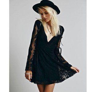 Free People Black Daisy Lace Mini Dress Size 8